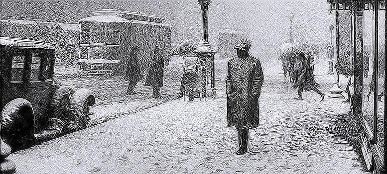 Snowy Day Downtown 1924 by Glen Klein