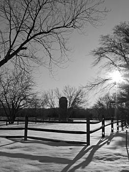 Kimberly Perry - Snowy Farm Scene at Seatuck Lane Black and White