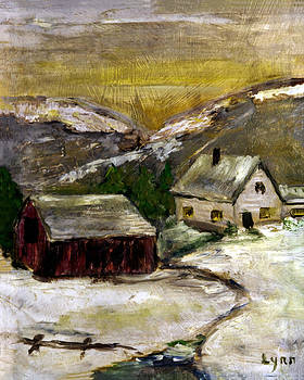 Lynn Palmer - Snowy Farm with Red Barn
