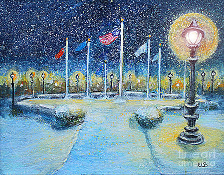 Snowy Night at the Circle of Remembrance by Rita Brown