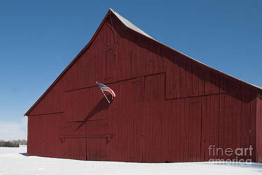 Lauren Brice - Snowy Patriotic Barn