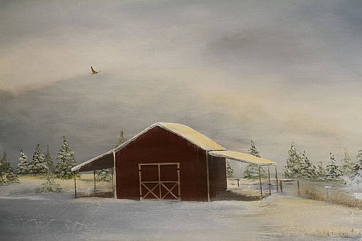 Snowy Red Barn by Katrina Nixon