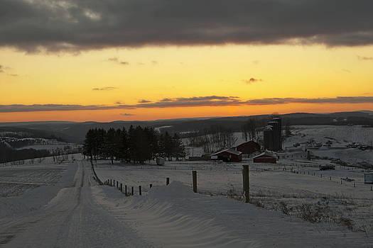 Snowy Pennsylvania Sunset by Frank Morales Jr
