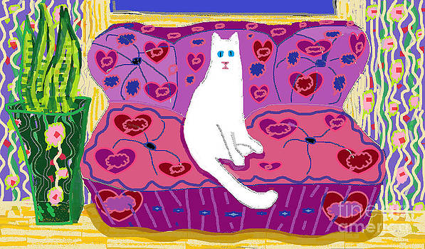 Soft Cat Sitting and Watching by Beebe  Barksdale-Bruner