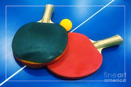 Beverly Claire Kaiya - Soft Dreamy Ping-pong Bats Table Tennis Paddles Rackets on Blue
