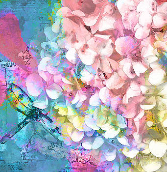 Soft Hydrangea and Dragonfly by Claire Bull