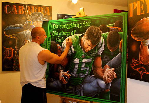 Donated Finishing Touches To The Original Painting For The Tebow Foundation Celebrity Golf Classic  by Sports Art World Wide John Prince