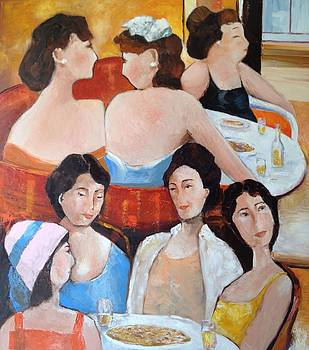 Sold/Mothers out for Lunch by Farid  Fakhriddin 80x90 cm