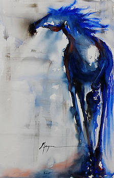 Solo Blue Horse by Terry Meyer