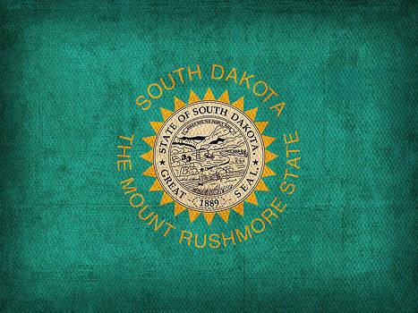 Design Turnpike - South Dakota State Flag Art on Worn Canvas