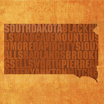 Design Turnpike - South Dakota Word Art State Map on Canvas