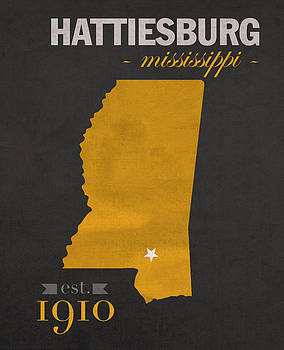 Design Turnpike - Southern Mississippi Golden Eagles Hattiesburg College Town State Map Poster Series No 099