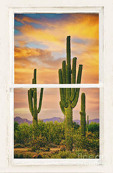 James BO  Insogna - Southwest Desert Sunset White Rustic Distressed Window Art