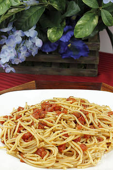 Spaghetti with Tomatoes and Flowers by Lee Serenethos