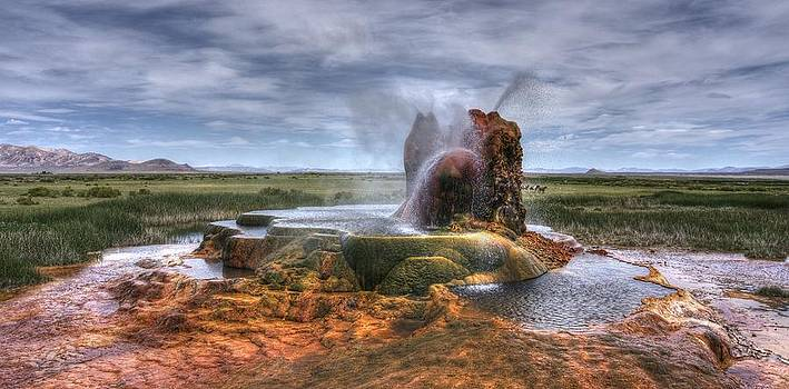 Spewing minerals at Fly Geyser by Peter Thoeny