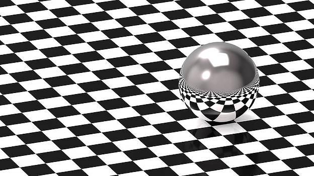 Sphere on chess pattern by Borislav Marinic
