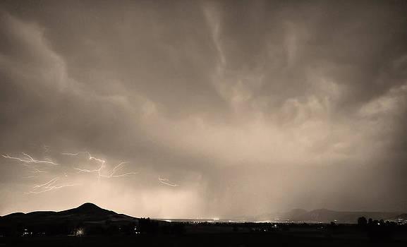 James BO  Insogna - Spider Lightning Above Haystack Boulder Colorado Sepia