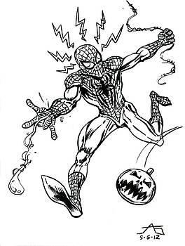 Spidey Dodges a Pumpkin Bomb by John Ashton Golden