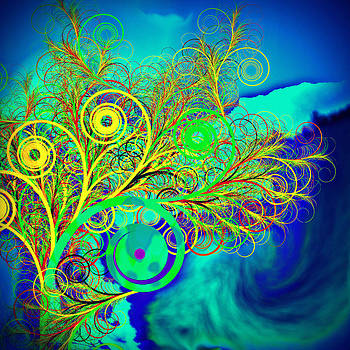 Spiral tree with blue background by GuoJun Pan