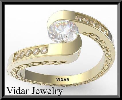Spiral White Sapphire And Diamond 14k Yellow Gold Engagement Ring by Roi Avidar