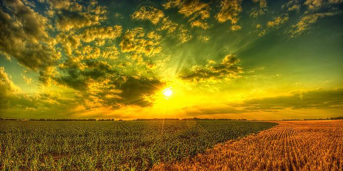 Split field sunset by  Caleb McGinn