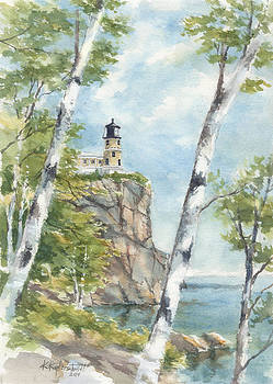 Split Rock and Birches by Kerry Kupferschmidt