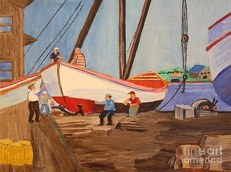 Spring at the Harbor - Tysver's Wharf 1935 by Bill Hubbard