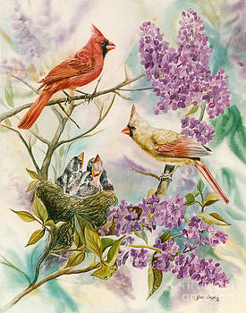 Spring Cardinals by Gail Dolphin