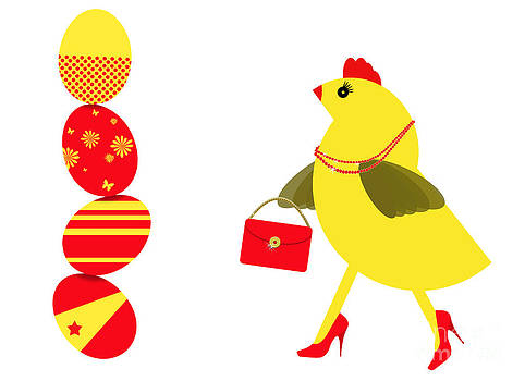 Judith  Flacke - Spring chicken character buying Easter eggs