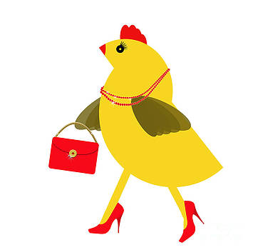 Judith  Flacke - Spring chicken character with bling and handbag