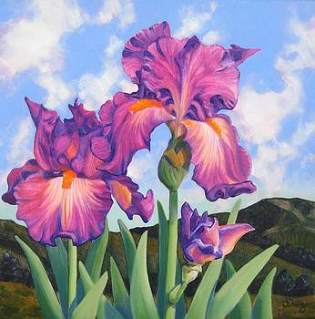 Spring Hills and Irises II by James Derieg