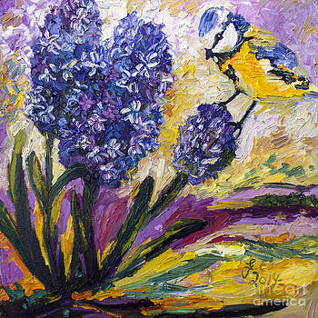 Ginette Callaway - Spring Hyacinth and Titmouse Songbird
