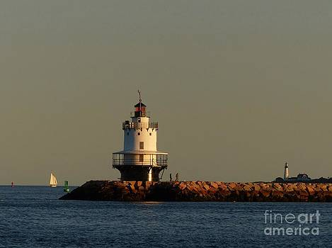 Christine Stack - Spring Point Ledge Lighthouse in South Portland Maine with Schooner and Portland Headlight