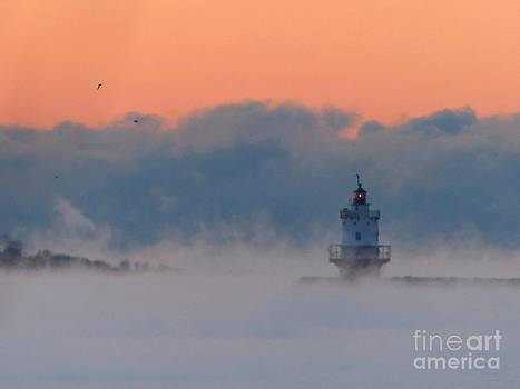 Christine Stack - Spring Point Ledge Lighthouse in South Portland Maine with Sea Smoke