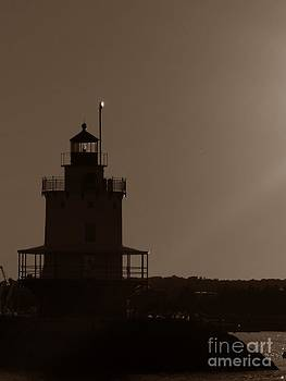 Christine Stack - Spring Point Ledge Lighthouse Silhouette in South Portland Maine