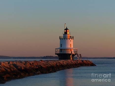 Christine Stack - Spring Point Ledge Lighthouse Sunrise In South Portland Maine