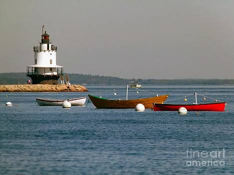 Christine Stack - Spring Point Ledge Lighthouse with Boats from Willard Beach in South Portland Maine