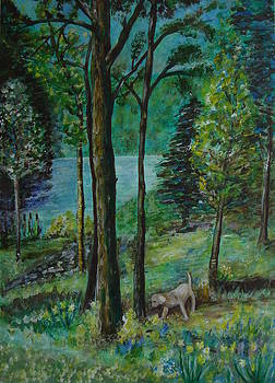 Spring Woodland With Dog - painting by Veronica Rickard