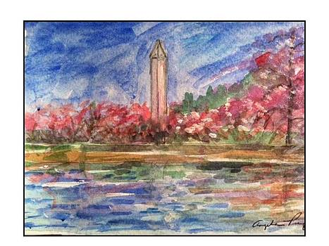 Springtime Washington Monument by Angela Puglisi