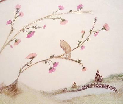 Squirrel in a Cherry Blossom Tree II by Christine Corretti