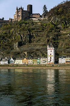 St. Goarshausen and Burg Katz Castle Germany by David Davies