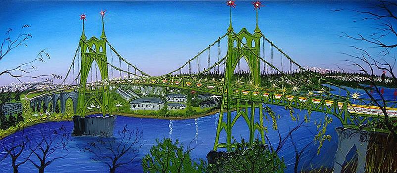 St. Johns Bridge At Dusk 1 by Portland Art Creations
