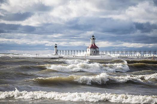 St Joseph Lighthouse on Windy Day by John McGraw
