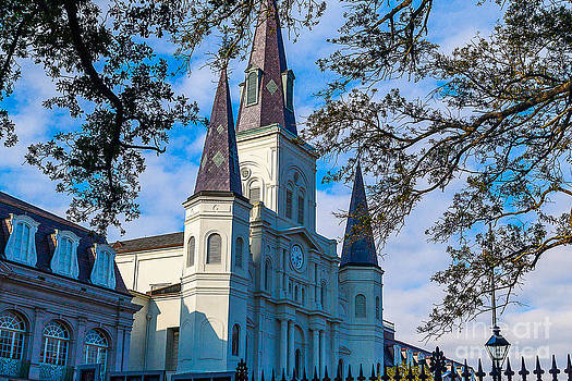 St. Louis Cathedral Through Live Oaks by Kimberly Blom-Roemer