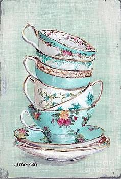 Stacked Aqua Themed Tea Cups by Gail McCormack