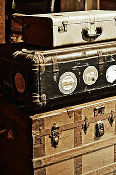 Stacked Suitcases in Vintage Train Depot by Rebecca Brittain