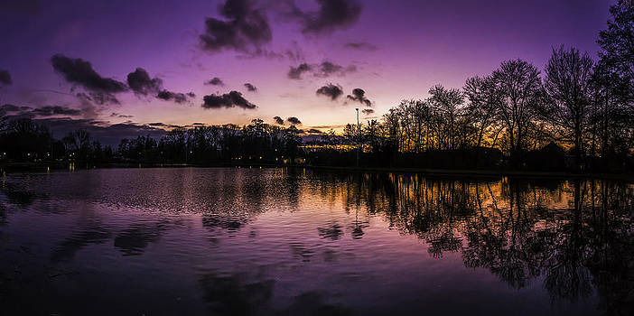 Stadspark Lake Sittard At Sunset by Libor Bednarik