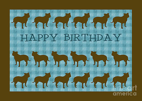 Staffordshire Bull Terrier Birthday card by Michelle Orai