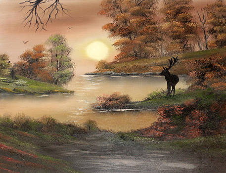 Stag at Dusk the Observer by Cynthia Adams