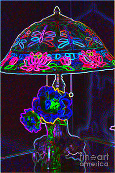 Stained Glass Lamp Abstract by Judy Palkimas